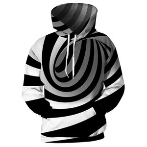 Cloudstyle Men Women Pocket Hoodies 3D Black White Stripe Sweatshirts Harajuku Streetwear Print Vortex Hipster Loose Pullovers