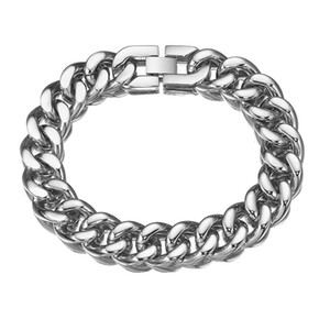 Granny Chic New Style Good Quality Stainless Steel Men Bracelet 15mm Wide 7-11 Inch Smooth Cuban Chain Biker Jewelry
