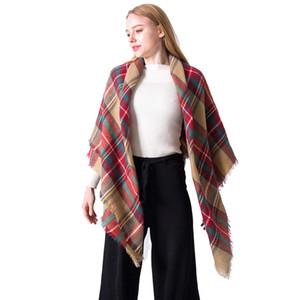 Дамы шарф осень-зима имитация кашемира Дважды сторона Красочный печати Plaid нашивки площади Шарф кисточкой Классическая шаль OOA9065