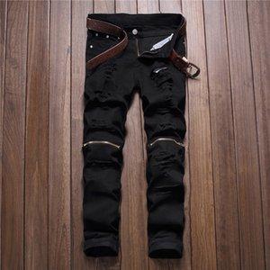 Kırmızı Beyaz Siyah Denim Pantolon Yırtık Diz Delik Fermuar Biker Jeans Erkekler Ince Sıska Yırtık Yırtık Jean Pantolon Kalça ...
