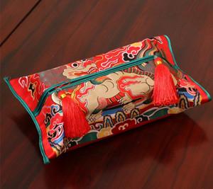 럭셔리 중국어 Thicken Silk Brocade 티슈 박스 커버 하이 엔드 카 홈 장식 드래곤 피닉스 기린 크레인 Removable Kleenex Box Cover
