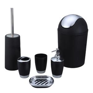 2017 nouvelle arrivée 6 pièce bain en plastique accessoire salle de bains ensemble, brosse de toilette ensemble - noir / blanc