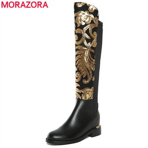 MORAZORA 2018 recién llegado de cuero genuino botas mujeres talón cuadrado otoño invierno mujeres rodilla alta motocicleta botas zapatos femeninos