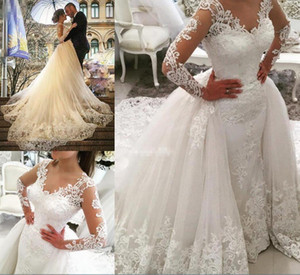 Sheer Long Sleeve Mermaid Wedding Dresses Overskirts Elegant V Neck African Bridal Dress Pearls Appliqued Wedding Gowns Vestido de fiesta