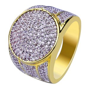 Hiphop Gold Plated Rings For Men Brand Design Fashion Hip Hop Ring Bling Ice Out Cubic Zirconia Jewelry 2018 Hot Sale