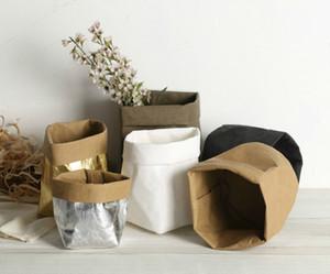 Kraft Papier Sacs Plant Stand Planteur De Fleurs Lavable Succulent Pot Plantes D'Intérieur Porte Panier De Cuisine De Maison Sacs En Papier