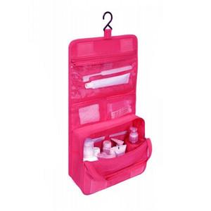 Bolso cosmético de alta calidad de poliéster mujeres cubierta cosmética moda cosméticos casos maquillaje bolsa de viaje colgando bolsos de aseo
