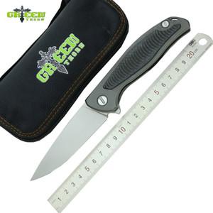 الأخضر شوكة F95 زعنفة الطي سكين d2 بليد tc4 التيتانيوم ألياف الكربون مقبض في معسكر الدفاع الذاتي سكاكين الجيب أدوات الفاكهة