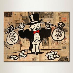 Alec Graffiti dipinti a mano pop street Art Pittura a olio borsa per soldi su tela di alta qualità Wall Art Home Deco Multi formati / Opzione telaio g214
