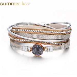 Mode Multilayer Bracelet en cuir Femmes Vintage Pierre cristal Wrap Cuff Bracelet fermoir magnétique main Bracelet Bijoux