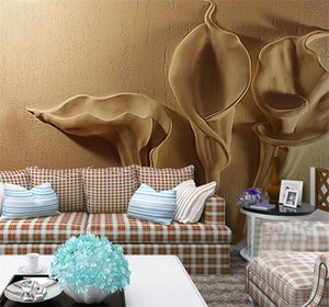 Custon Qualsiasi dimensione 3D Wallpaper Gold Emboss Calla Lily Modern Abstract Art Murale Soggiorno camera da letto Decorazione Tapety impermeabile