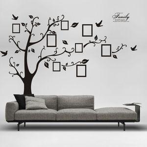 Büyük Boy Aile Ağacı Duvar Sticker Çıkartması-Fotoğraf Ağacı Duvar Çıkartmaları Bellek Ağacı Fotoğraf Çerçevesi PVC Duvar Çıkartmaları