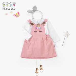 2018 New Fashion Girls Spring Unicorn Abiti per bambini Suit manica lunga camicia bianca + Pink Jumper Dress Princess Dress Suit 4 taglie un sacco