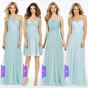 Blue Convertible Bridesmaid Dresses Sexy Mixed Styles Tulle Party Dresses For Maid of Honor Custom Made Evening Gowns Long Prom Dress