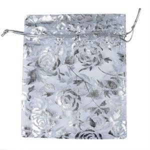 500PCS Chanfar 9x12cm اورجانزا حقائب مجوهرات الزفاف الحسنات حزب نمط طبع Drawable تغليف الحقائب العرض هدية