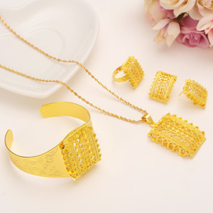 whole saleNew Ethiopian Gold african sets Pendant Necklaces clip Earrings Bangle adjustable Ring Habesha Jewelry Eritrean Wedding Gifts