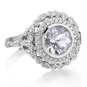 Prata luxo Criado Tamanho Branco Sapphire gemas Birthstone Princess Bride Wedding Engagement Estranho Ring 5 -12