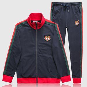 Angry Tiger Applique Casual Tuta da uomo Luxury Design Street Wear Cotton Jumper + Pantaloni sportivi Set da uomo
