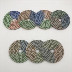 Drei Farben Gitterform Diamantpolierscheibe Naß 100 mm (4 Zoll) Granitpolierwerkzeug Winkelschleifer Polierauflagen Steinpolierscheiben