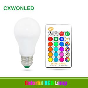 Lâmpada LED E27 B22 3W 5W 10W Regulável LED RGB Alto Brilho Plastic Aluminum remoto luz de controle 220 270 Ângulo Branco AC 85-265V