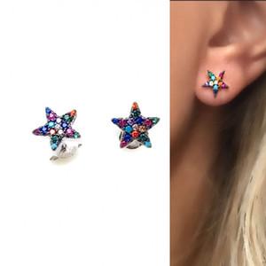 arco-íris mix cor zircônia cúbica pequeno brinco estrela 925 prata esterlina delicado brincos coloridos estrela delicada