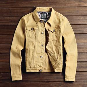 Outono Nova Magro Mens Jaquetas e Casacos Casuais Jaqueta Jeans Homens Veste Homme Homens Jaqueta Jeans Cáqui Preto Exército Verde Vermelho M-2XL