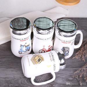 400ml tasse de tour eiffel café écologique tasse de thé mini-gobelet en céramique portable résistant à la chaleur avec couvercle multi styles de miroir 7xh zz