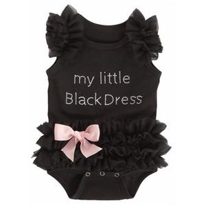 Bébé filles dentelle noire robe Tutu One-Piece INS lettre Romper coton lettre Angel Combinaisons enfants sans manches avec bowknot montée vêtements C1557