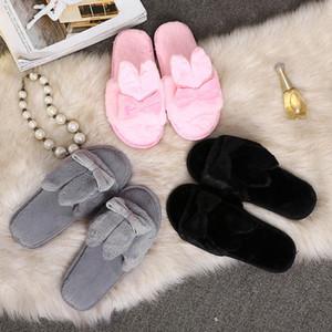 Baoaili Venda Quente orelhas de Coelho Mulheres de Inverno Sapatos Casa Interior Faux Fur Chinelos Quentes Hausschuhe Frauen sapatos femininos 3L45