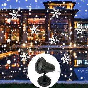 크리스마스 눈송이 레이저 빛 폭설 프로젝터 IP65 이동 눈이 야외 정원 레이저 프로젝터 램프 새 해 파티 장식