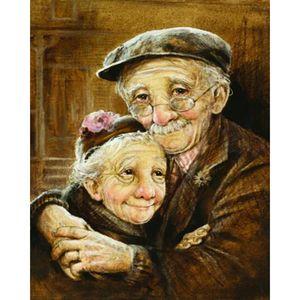 Boyutu 40x50 cm Hugging yaşlı çift 5D DIY Mozaik İğne Elmas Boyama Nakış Çapraz Dikiş Craft Kiti Duvar Ev Asılı Dekor