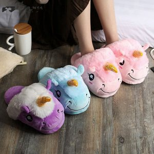New Lovely Warm Winter Shoes Women Home Slipper Plush Unicorn Slippers Slides Flat Heels House Shoes Indoor Slides