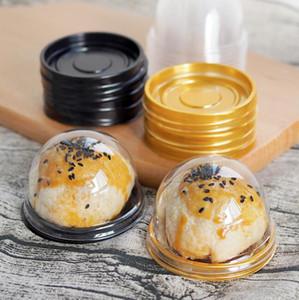 الذهب الأسود جولة البلاستيك كعكة مربع واحد فردي القمر كعكة صينية صناديق البلاستيك علب الكعك البلاستيكية pvc الغذاء هدية صناديق تغليف
