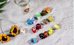 Mermerler Renkli yumurta Paskalya yumurtası şeklinde mermerler cam toplar 16mm
