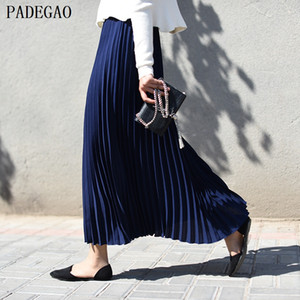 PADEGAO navy high waist pleated long skirt solid a line women autumn winter black plus size boho casual party maxi long skirts