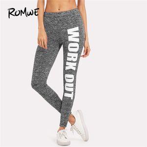 Romwe Sport Grigio Nero Lettera Stampa Allenamento Donna Raccordo da corsa Calzamaglia Autunno Inverno Elastico Solido Pantaloni da ginnastica