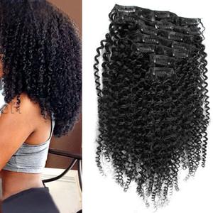 Clip mongolo riccio crespo dei capelli in 7pcs / Set clip nelle estensioni dei capelli umani dei capelli naturali della clip Ins 4b 4c