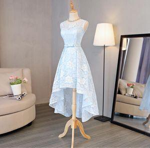 Светло-голубое кружево платья невесты для страны свадьбы A-Line Jewel HI-lo богемный летний пляж свадьба вечерние платья