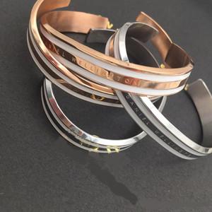 Nueva moda marca de gama alta simple para hombres y mujeres salvajes parejas pulsera abierta tipo C de oro rosa 316L pulsera de acero inoxidable pulsera