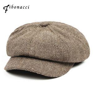 Fibonacci 2017 Nueva mezcla de lana Newsboy Cap alta calidad boina Retro a rayas sombrero octagonal para hombres mujeres sombreros S1020
