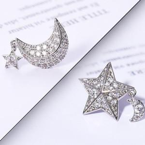 pendientes para las mujeres Estrellas de la luna pendientes asimetría S925 aguja de plata aretes de fahsion caliente gratuito de envío