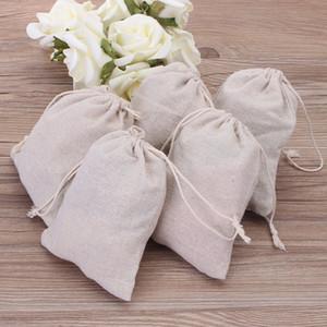 Petit Muslin Sacs à cordonnet cadeaux coton lin Pouches bijoux vintage d'emballage porte-Faveur cas de mariage De nombreuses tailles Jute Sacks logo personnalisé
