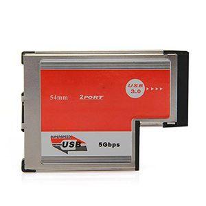 Freeshipping CAA 2 منفذ USB 3.0 ExpressCard بطاقة ASM رقاقة 54 مم PCMCIA ExpressCard لأجهزة الكمبيوتر المحمول