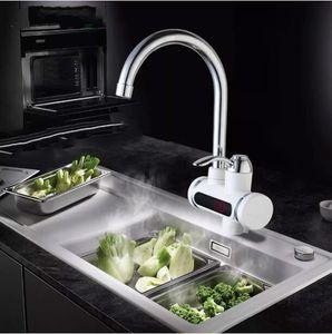 Мгновенный Tankless Водонагреватель Электрический Водопроводный Кран Кухонный Кран Мгновенный Нагреватель + LED ЕС Plug Бесплатная Доставка