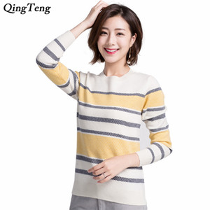 Yellow Striped Cashmere Sweater Women's Light Weight Fine Knitting Long Sleeve Chic Design Pullover Fit Cropped O-Neck Jumpers