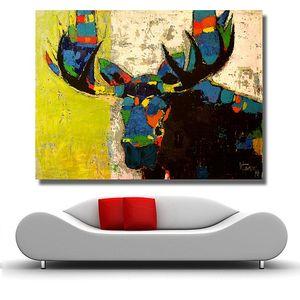 Handpainted HD 인쇄 다채로운 무스 낙서 동물 예술 유화, 고품질 벽 두꺼운 캔버스에 홈 월 아트 장식 멀티 크기 a39