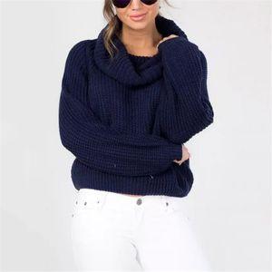 WKOUD Inverno Doces Cores Camisolas Mulheres Moda de Nova Sexy Gola Pullovers Casual Sólida Solta Pulôver De Malha M8088