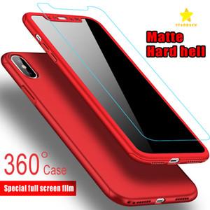 Ultradünne 360-Grad-Abdeckung Ganzkörper-Schutzhülle Hard-PC-Hülle für iPhone 8 Plus iPhone X 6 / 6SPlus 7 Plus Gehärtetes Glas