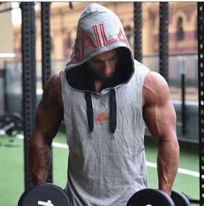 Summer Athletic Tank Top Uomo Slim Fit Letters Tshirt senza maniche con cappuccio Vesti abbigliamento attivo