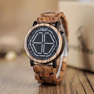 BOBO BIRD Nueva llegada Antique Zebra Wood Digital Relojes Hombre Diseñador Envío de la gota Reloj para hombres como Mejor Regalo